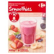 Carrefour Mélange de Fruits Smoothies Fraise, Banane, Myrtille 400 g