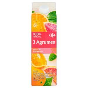 Carrefour 100% Puur Sap 3 Citrusvruchten 1 L