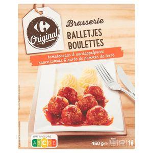 Carrefour Original Brasserie Balletjes Tomatensaus & Aardappelpuree 450 g