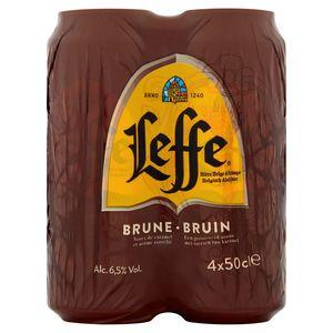 Leffe Bière Belge d'Abbaye Brune Canettes 4 x 50 cl