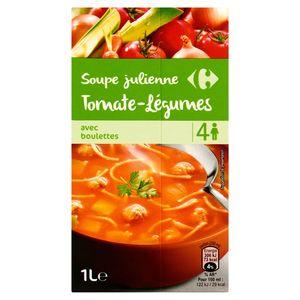 Carrefour Juliennesoep Tomaat-Groenten met Balletjes 1 L
