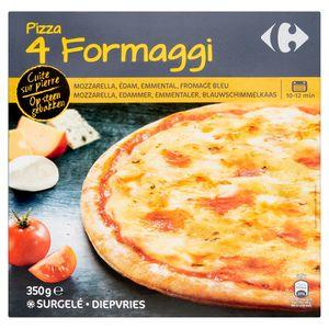 Carrefour Pizza 4 Formaggi op Steen Gebakken 350 g