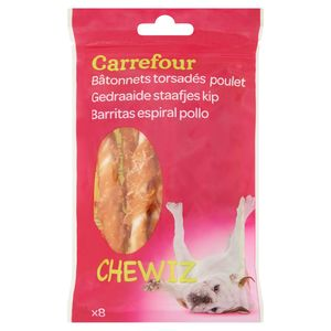 Carrefour Chewiz Gedraaide Staafjes Kip x 8 80 g