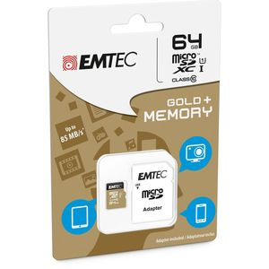 Emtec Geheugenkaart micro SDXC Gold Plus 64GB + adapter