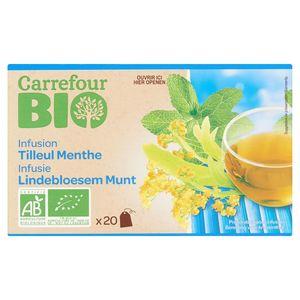 Carrefour Bio Infusie Lindebloesem Munt Theezakjes 20 x 1.3 g