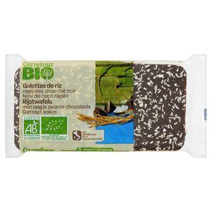 Carrefour Bio Rijstwafels Laagje Zwarte Chocolade Geraspt Kokos 90 g