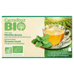 Carrefour Bio Groene Thee Groene Munt met Groene Muntblaadjes 20 Stuks 32 g