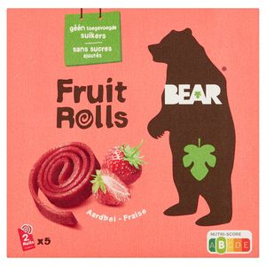 BEAR Fruit Rolls Aardbei, Fruit Snack, 5x2 rolletjes