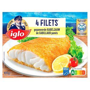 Iglo 4 Filets de Cabillaud Panés 400 g