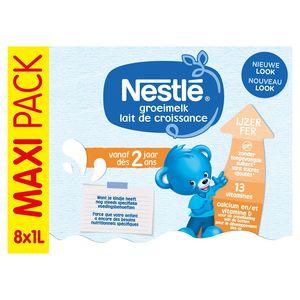 Nestlé Groeimelk 2+ vanaf 2 Jaar Maxi Pack 8 x 1 L