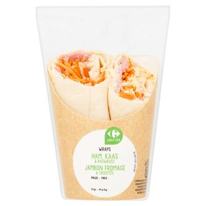 Carrefour Lunch Time Wraps Jambon Fromage & Crudités 190 g