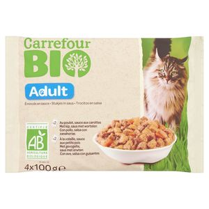 Carrefour Bio Stukjes in Saus Adult 4 x 100 g