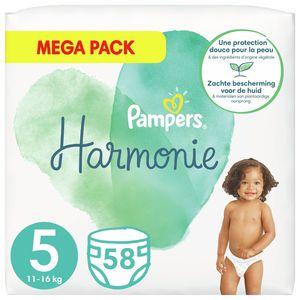 Pampers Harmonie Maat 5, 58 Luiers, 11kg-16kg